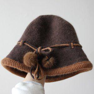 Danier Brown Angora and Wool Hat
